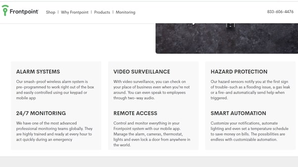 screenshot of frontpoint features list
