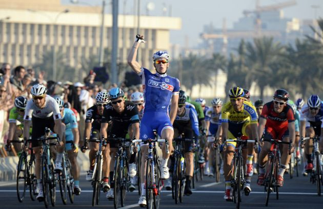 Arnaud Demare wins stage six of the 2014 Tour of Qatar