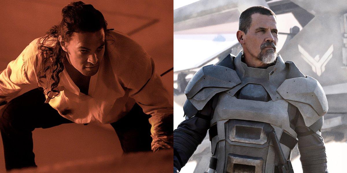 Jason Momoa as Duncan Idaho and Josh Brolin as Gurney Halleck in Dune