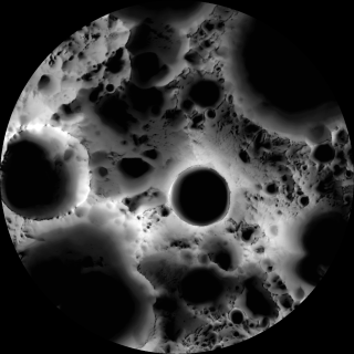 An image of the moon's south pole shows illumination over time, with the depths of Shackleton Crater near the center of the frame.