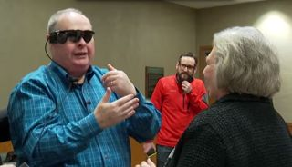 a blind man with retinal prosthesis