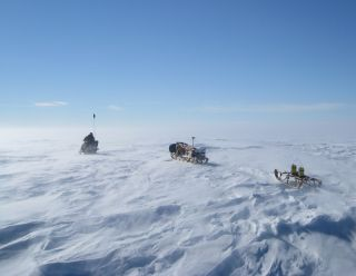 Radar equipment on the West Antarctic Ice Sheet during 2009-2010 fieldwork.