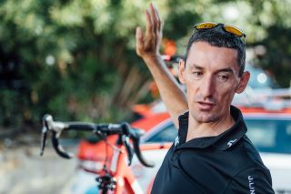 Marco Pinotti briefs BMC riders on the final training ride before the start of the 2018 Vuelta a Espana.