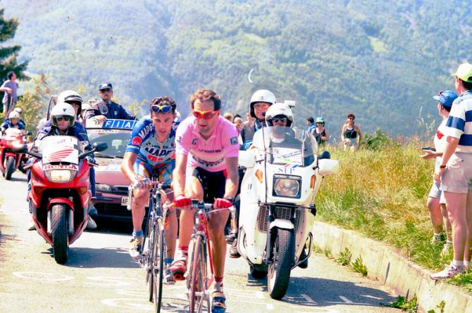 Pavel Tonkov and Ivan Gotti climbing the Mortirolo in 1997 just as they had done one year previously but would be Gotti winning the overall this time