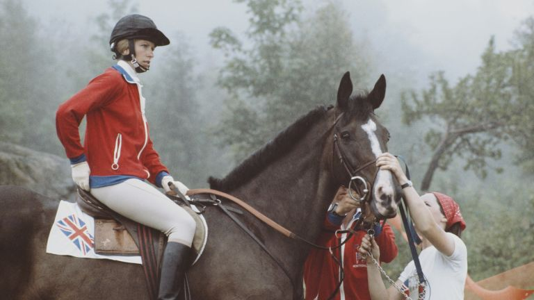 Princess Anne at the Olympics 1976, aboard Goodwill during the Mixed Three-Day Event Team Cross-Country