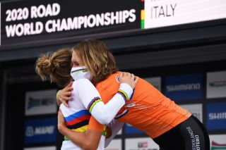 IMOLA ITALY SEPTEMBER 24 Podium Anna Van Der Breggen of The Netherlands World Champion Jersey Ellen Van Dijk of The Netherlands Bronze medal Celebration Mask Covid safety measures during the 93rd UCI Road World Championships 2020 Women Elite Individual Time Trial a 317km stage from Imola to Imola ITT ImolaEr2020 Imola2020 on September 24 2020 in Imola Italy Photo by Tim de WaeleGetty Images