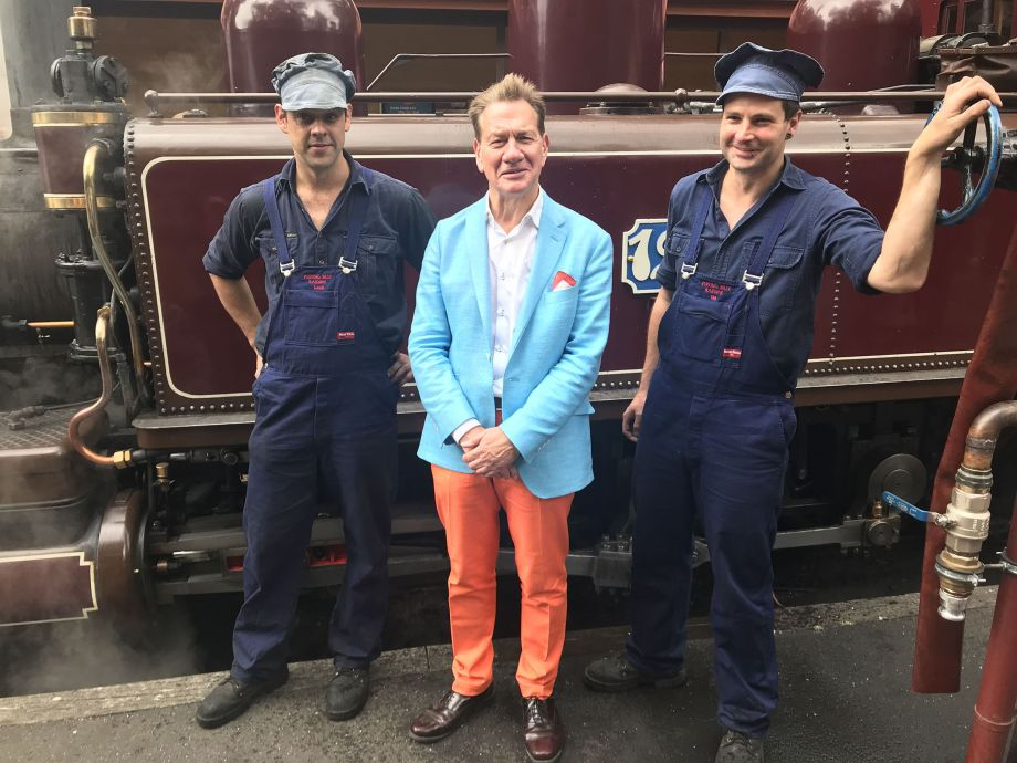 Michael in front of a steam train