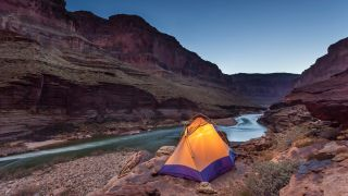 a tent in the Grand Canyon