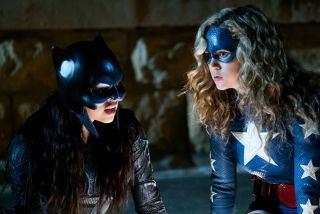 Pictured (L-R):Yvette Monreal as Wildcat and Brec Bassinger as Stargirl