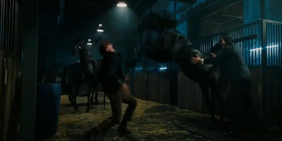 John Wick 3 stable horse kick