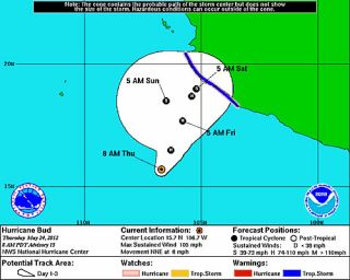 The expected path and changes in strength to Hurricane Bud, the first hurricane of the 2012 East Pacific hurricane season.