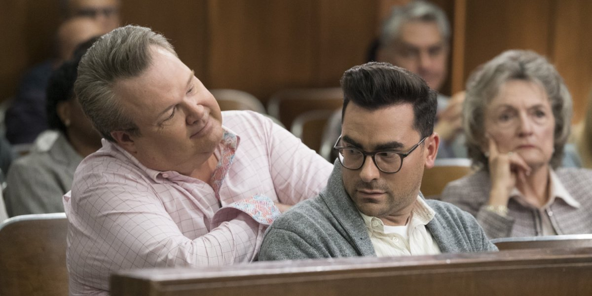 Dan Levy as Jonah in the courtroom in Modern Family.