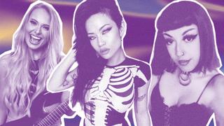 A montage of metal influencers Sophie Lloyd/Kiki Wong/Yasmine Summan