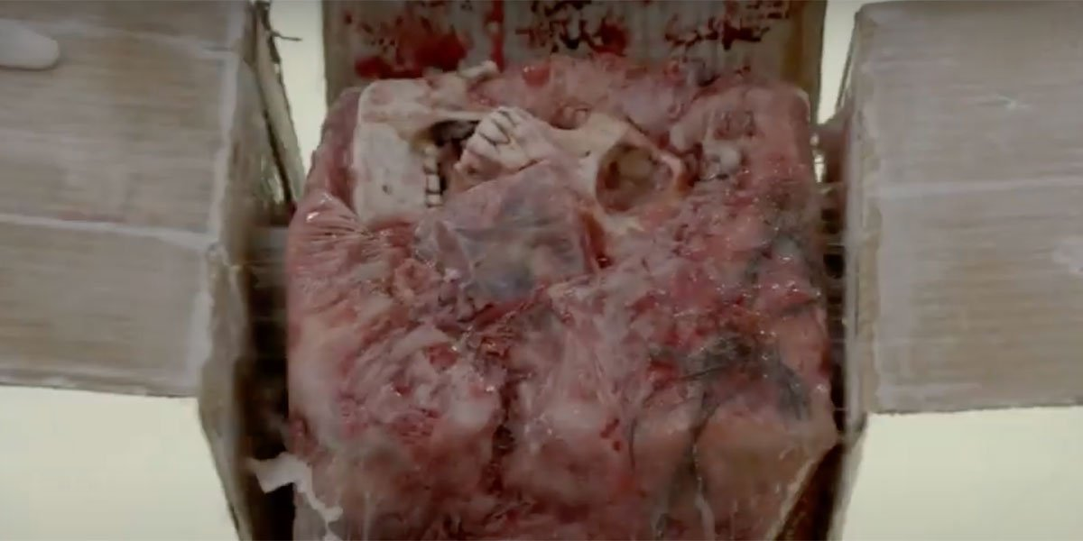 A human skull inside a box that's buried in human flesh in an utterly disgusting shot on Bones.