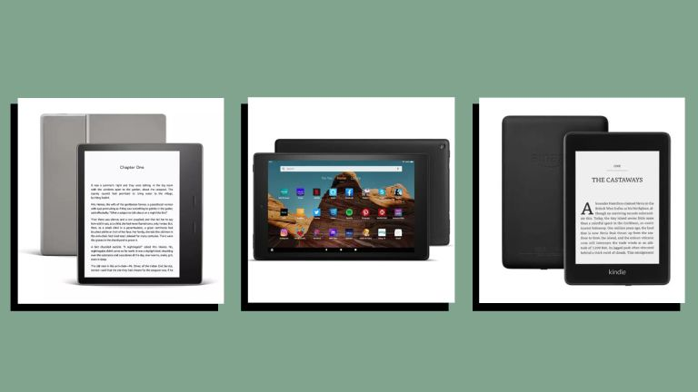 three of w&h's picks for the best kindles - the kindle oasis, fire 10 HD and kindle paperwhite - on a green background
