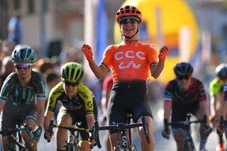Marianne Vos celebrates the win at Trofeo Alfredo Binda in 2019