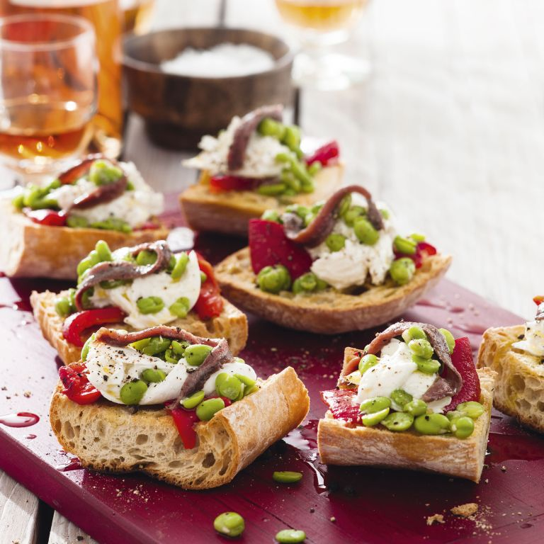 Broad bean roasted pepper mozzarella and anchovy bruschetta - summer recipes - woman&home July 2013