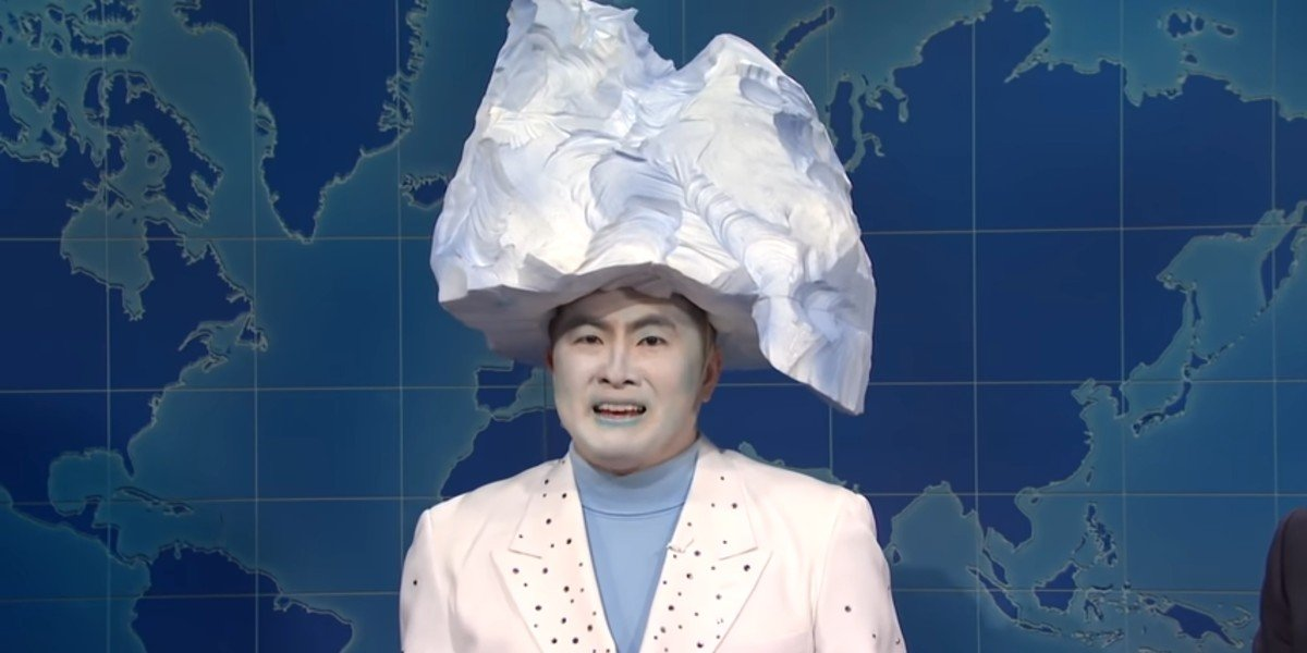 Bowen Yang playing up the Titanic disaster on Saturday Night Live's Weekend Update