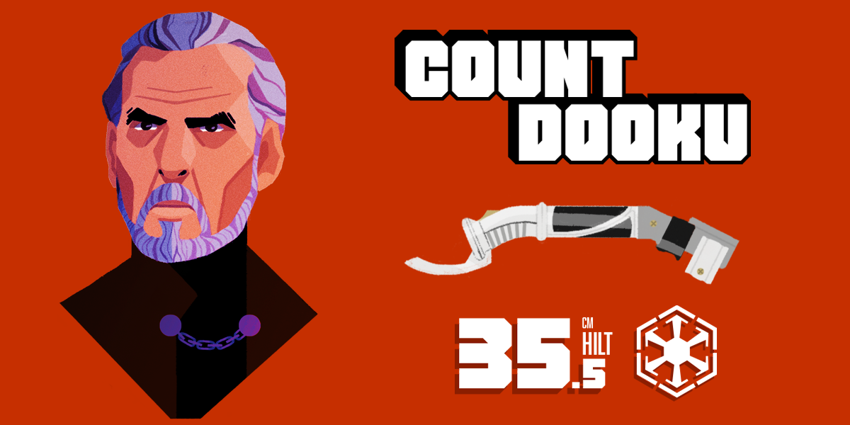Count Dooku and his lightsaber statistics