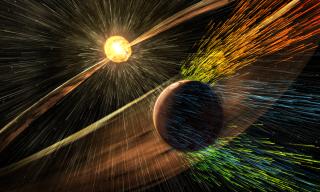 Artist's rendering of solar storm at Mars