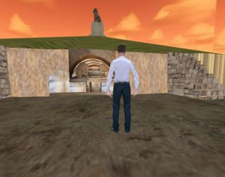 A still from a 3D model of the the Amphipolis tomb
