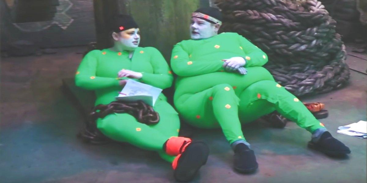 Rebel Wilson and James Corden filming Cats