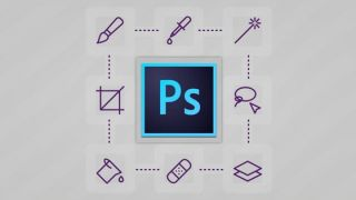 Photoshop logo surrounded by icons