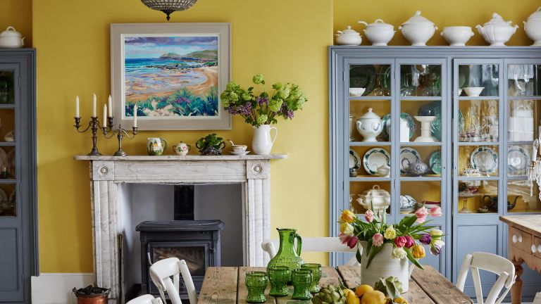 yellow kitchen in Georgian seaside townhouse
