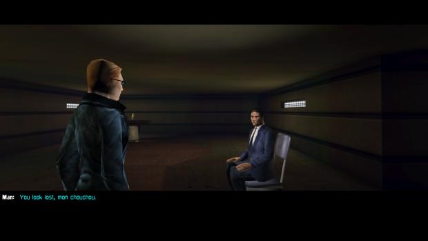A female JC talking to an NPC in modded Deus Ex.