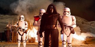 Kylo and Stormtroopers in The Force Awakens