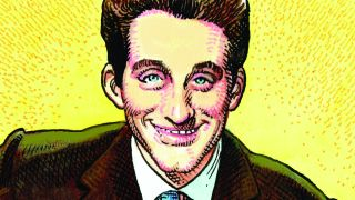William Stout's painting of Lonnie Donegan, smiling, against a yellow background.