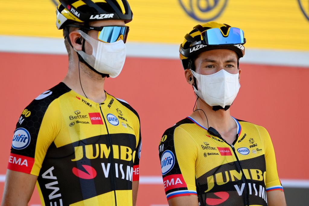 CORDOBA SPAIN AUGUST 26 Primoz Roglic of Slovenia and Team Jumbo Visma during the team presentation prior to the 76th Tour of Spain 2021 Stage 12 a 175 km stage from Jan to Crdoba lavuelta LaVuelta21 on August 26 2021 in Cordoba Spain Photo by Stuart FranklinGetty Images