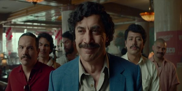 Javier Bardem as Pablo Escobar smiling in Loving Pablo