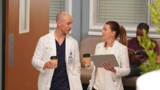 Richard Flood as Cormac Hayes and Ellen Pompeo as Meredith Grey converse on Grey's Anatomy