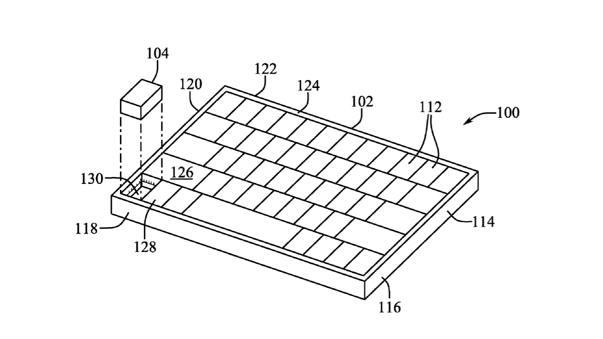 Technical drawings of Apple's proposed removeable mouse deployed from a laptop keyboard