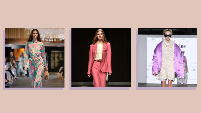 collage of three catwalk images showing models modelling 2021 clothing trends