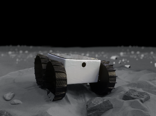 An artist's depiction of the Iris rover on the moon.