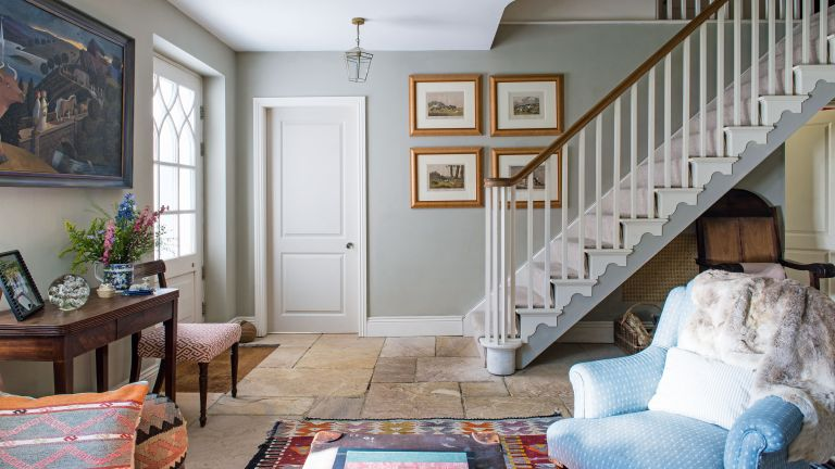 Hallway paint ideas with stone floor and grey wall