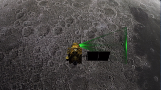 An artist's depiction of the Chandrayaan-2 orbiter studying the moon's surface.