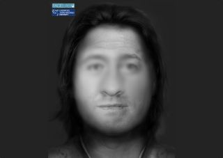 The face of a man who lived 4,500 years ago in England was reconstructed, with the blurry portions of the image indicating a lack of surviving facial bones; researchers had to estimate those portions.