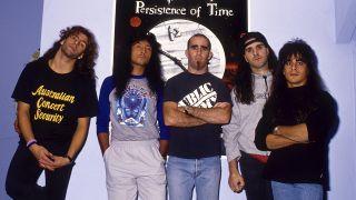 Anthrax in 1990: Frank Bello, Joey Belladonna, Scott Ian, Charlie Benante and Dan Spitz
