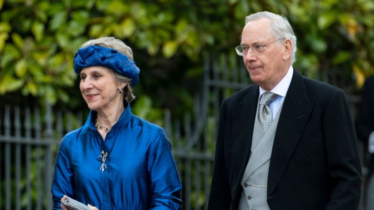 Birgitte, Duchess of Gloucester and Prince Richard, Duke of Gloucester attend the wedding of Lady Gabriella Windsor and Mr Thomas Kingston at St George's Chapel, Windsor Castle on May 18, 2019 in Windsor, England