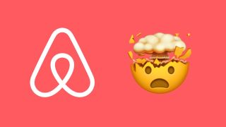 Airbnb logo and shocked face emoji