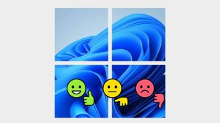 Thumbs up, down and meh emojis in front of a windows 11 logo.