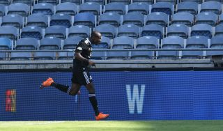 Zakhele Lepasa celebrates his goal against Kaizer Chiefs