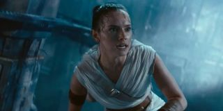 Rey (Daisy Ridley) crouches down in 'Star Wars: The Rise of Skywalker'
