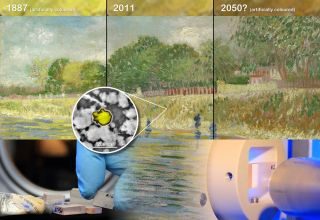 "This illustration shows how X-rays were used to study why van Gogh paintings lose their shine. Top: a photo of the painting ""Banks of the Seine"" on display at the Van Gogh Museum, divided in three and artificially colored to simulate a possible state in 1"