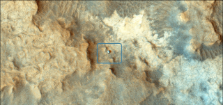 NASA's Mars Reconnaissance Orbiter took this image of the Curiosity rover (inset) on the surface of the Red Planet on Dec. 13, 2014. Image released Feb. 5, 2015.