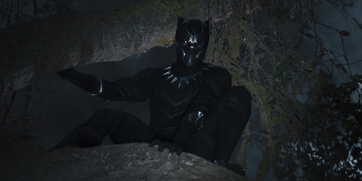 Black Panther crouching in a tree in Black Panther