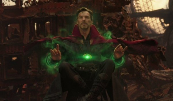 Avengers: Infinity War Doctor Strange reviewing all of the scenarios in a meditative pose